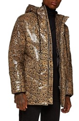 Topman Snakeskin Print Leather Puffer Coat Brown Multi