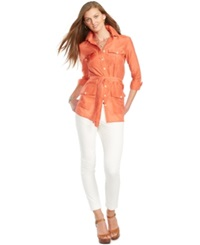 Lauren Ralph Lauren Petite Belted Button Front Tunic Orange