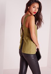 Missguided D Ring Open Back Sleeveless Blouse Khaki Beige