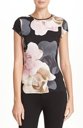 Ted Baker Women's London 'Tarlia Porcelain Rose' Fitted Tee Black