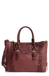 Sole Society 'Susan' Winged Faux Leather Tote Red Oxblood
