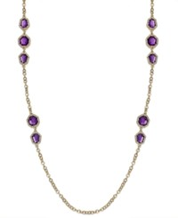 Charter Club Gold Tone Purple Stone And Glass Crystal Long Necklace Amethyst
