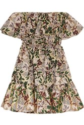 Philosophy Di Lorenzo Serafini Off The Shoulder Floral Jacquard Mini Dress Green