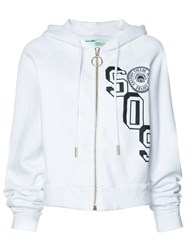 Off White Sos Print Zipped Hoodie White