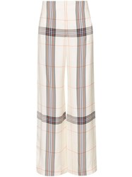 Roland Mouret Tayport Wide Leg Checked Trousers Multicolour