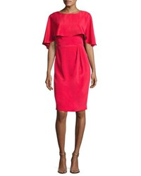 Theia Cape Sleeve Stretch Silk Cocktail Dress Red