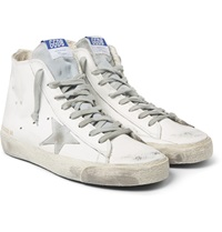 Golden Goose Distressed Leather High Top Sneakers