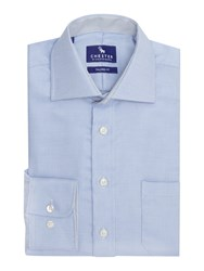 Chester Barrie Check Tailored Fit Long Sleeve Shirt Blue