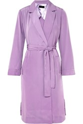 J.Crew Belted Satin Coat Lilac Gbp