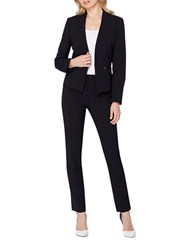 Tahari By Arthur S. Levine Two Piece Collarless Jacket And Pant Suit Black
