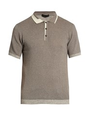 Etro Knitted Cotton And Cashmere Blend Polo Shirt Grey