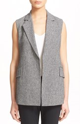 Women's Theory 'Sedeia' Linen Sleeveless Vest Black White