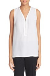 The Kooples Women's Front Zip V Neck Silk Tank White