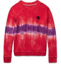 The Elder Statesman Tie Dyed Palm Tree Intarsia Cashmere Sweater Crimson