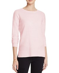 Aqua Cashmere High Low Crewneck Cashmere Sweater Light Pink