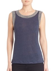 Generation Love Lucy Crystal Embellished Tank Navy