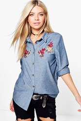Boohoo Embroidered Denim Shirt Mid Blue