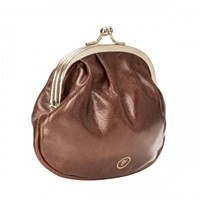 Maxwell Scott Bags Ladies Tan Leather Ball Clasp Coin Wallet