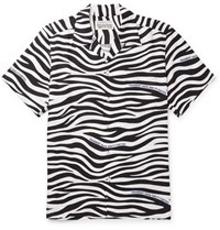 Wacko Maria Fragment Camp Collar Zebra Print Lyocell Shirt Black