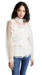 Endless Rose Lace And Mesh Top Beige