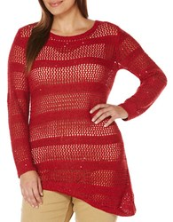 Rafaella Plus Boatneck Long Sleeve Open Knit Sweater Ruby