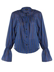 Rachel Comey Union Banker Striped Cotton Blend Shirt Navy Stripe