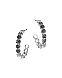 Silver Dot Lava Small Hoop Earrings With Black Sapphire John Hardy