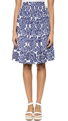 Elizabeth And James Avenue Silk Skirt Ivory Navy