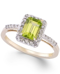 Macy's Peridot 1 Ct. T.W. And Diamond 1 4 Ct. T.W. Ring In 14K Gold Green