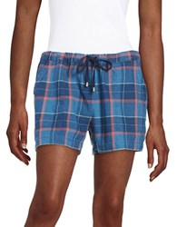 Splendid Plaid Drawstring Shorts Black