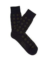 Alexander Mcqueen Skull Jacquard Cotton Blend Socks Blue Multi