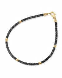 Lagos 3Mm Black Caviar And 18K Gold Rope Bracelet