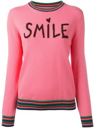 Chinti And Parker Cashmere Smile Jumper Pink Purple