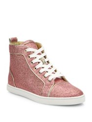 Christian Louboutin Bip Bip Glitter High Top Sneakers Poudre
