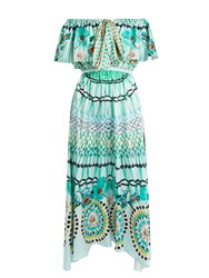Temperley London Dream Catcher Tie Front Silk Dress Green Print