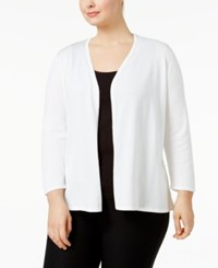 Alfani Plus Size Lace Back Open Front Cardigan Only At Macy's Bright White