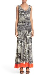 Fuzzi Women's Ruched Print Tulle Maxi Dress