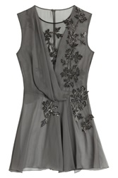 Alberta Ferretti Silk Chiffon Blouse With Velvet Applique Grey