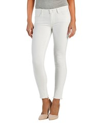 Paige Raw Edged Skinny Jeans White Distressed
