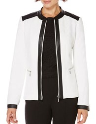 Rafaella Textured Colorblocked Jacket White