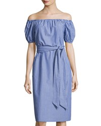 Velvet Heart Emma Off The Shoulder Striped Dress Blue White