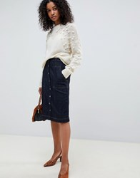 Selected Femme High Waisted Denim Button Through Midi Skirt Dark Blue Denim