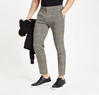 River Island Brown Check Skinny Fit Crop Smart Trousers
