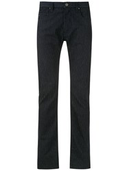 Emporio Armani Pinstriped Trousers Blue