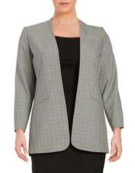 Calvin Klein Plus Plaid Open Front Blazer Black White