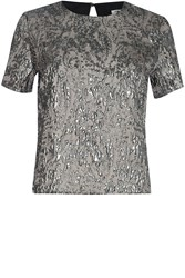 True Decadence Pewter Jacquard Top Pewter