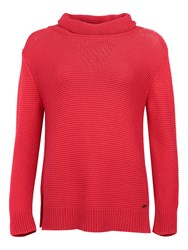 Barbour Purl Stitch Roll Neck Jumper Red