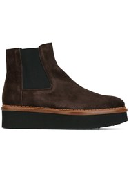 Tod's Platform Chelsea Boots Brown