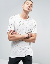 Allsaints T Shirt With All Over Feather Print Chalk White