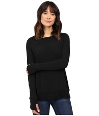 Allen Allen Long Sleeve Crew W Crossover Back Black Women's Clothing